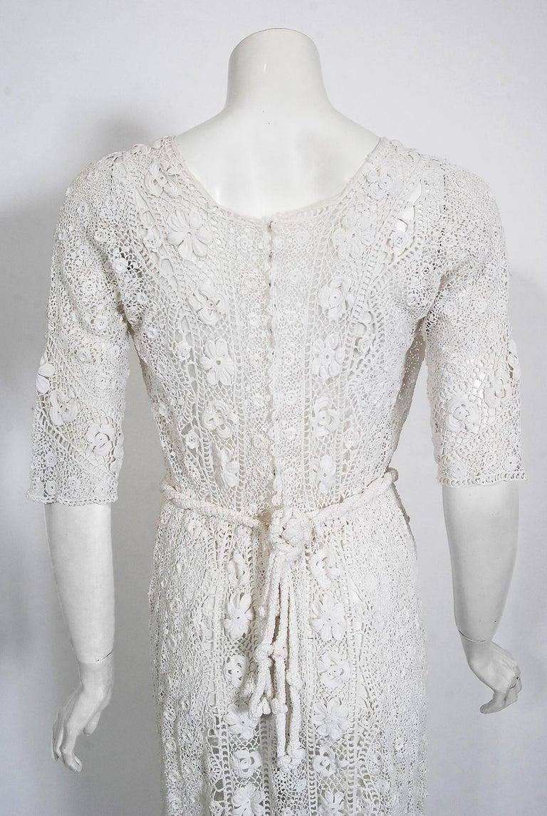 1910's Edwardian Antique Couture White Irish-Crochet Lace Handmade Tea Gown For Sale 10