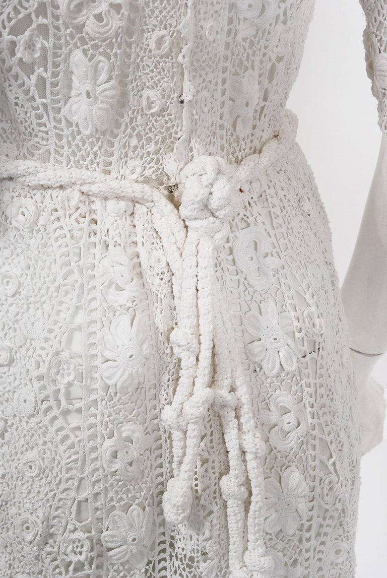 1910's Edwardian Antique Couture White Irish-Crochet Lace Handmade Tea Gown For Sale 11