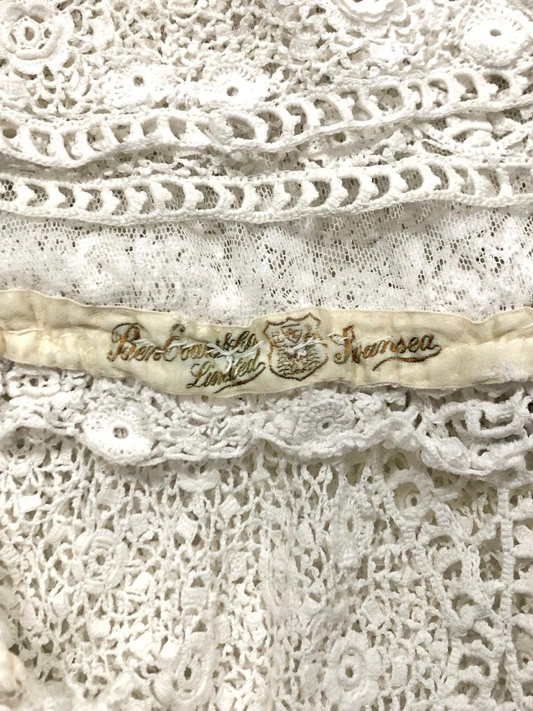 1910's Edwardian Antique Couture White Irish-Crochet Lace Handmade Tea Gown For Sale 12