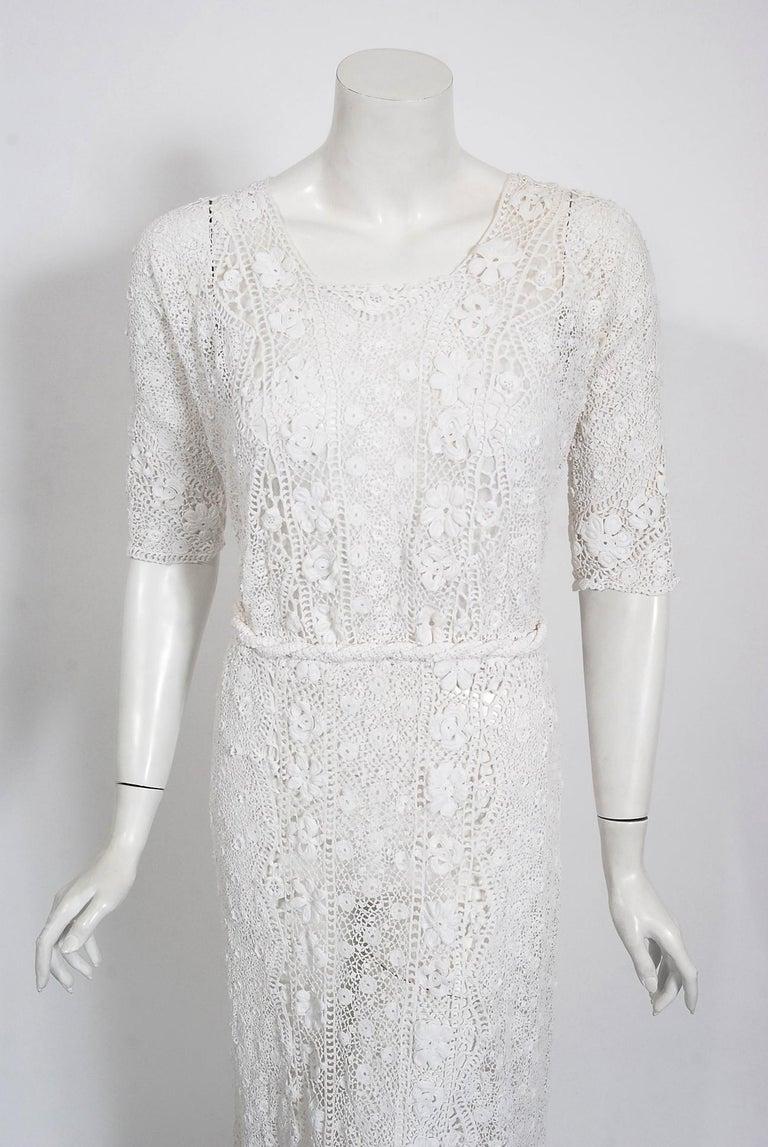 Women's 1910's Edwardian Antique Couture White Irish-Crochet Lace Handmade Tea Gown For Sale