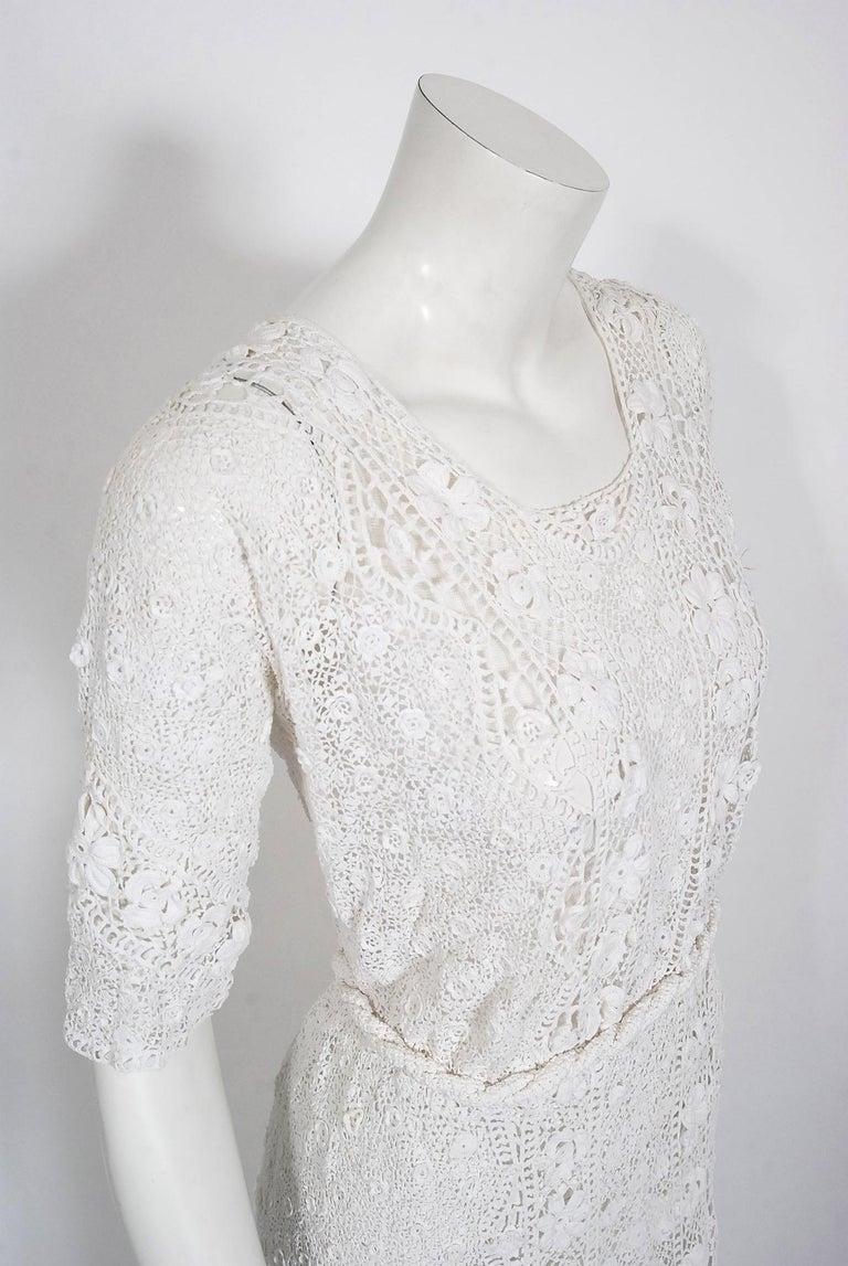 1910's Edwardian Antique Couture White Irish-Crochet Lace Handmade Tea Gown For Sale 1