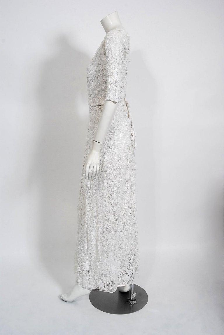 1910's Edwardian Antique Couture White Irish-Crochet Lace Handmade Tea Gown For Sale 5
