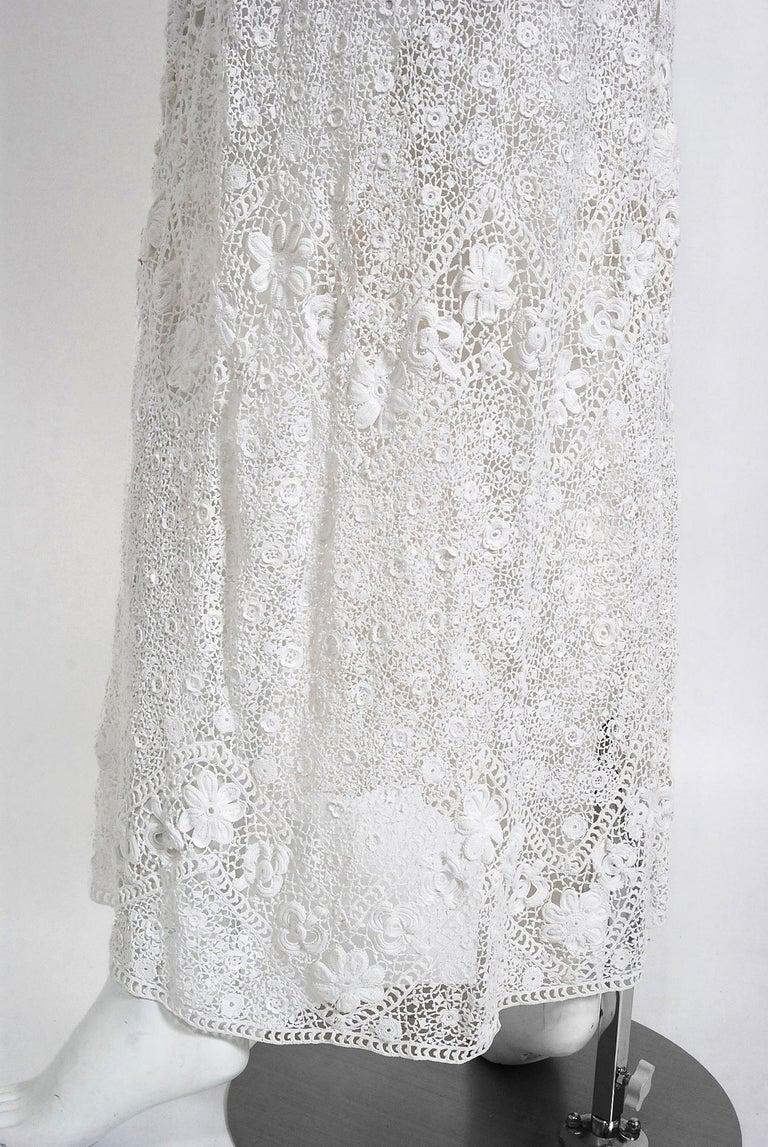 1910's Edwardian Antique Couture White Irish-Crochet Lace Handmade Tea Gown For Sale 6