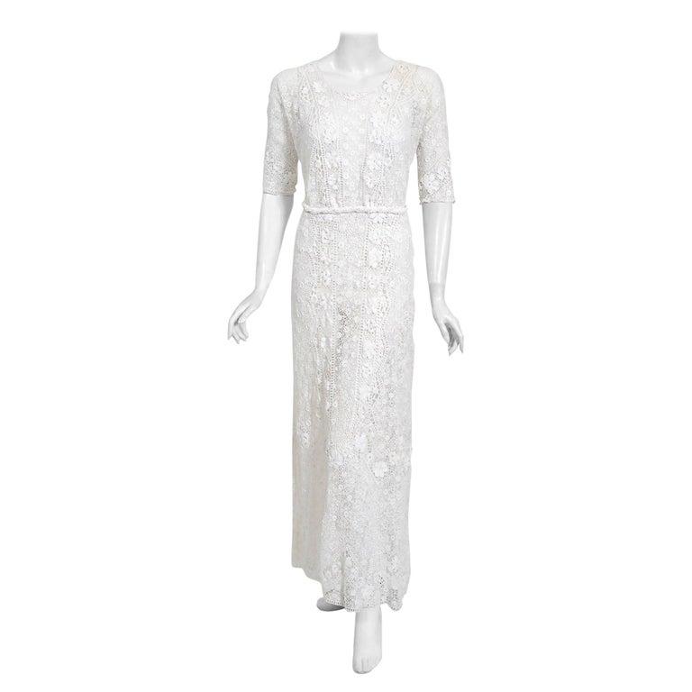 1910's Edwardian Antique Couture White Irish-Crochet Lace Handmade Tea Gown For Sale
