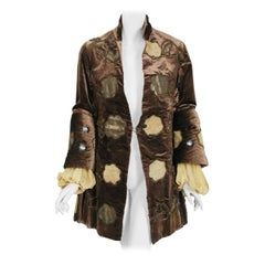 1910's Edwardian Couture Brown Velvet & Gold Lamé Wide Cuff Theatrical Jacket