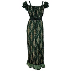 1910's Edwardian Sage Green Beaded French Floral Lace Off-Shoulder Evening Gown