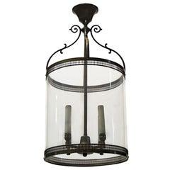 1910s Foyer Cylinder Brass Pendant Lantern