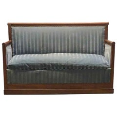 1910s French Blue Striped Velvet and Dark Toned Walnut Wood Settee