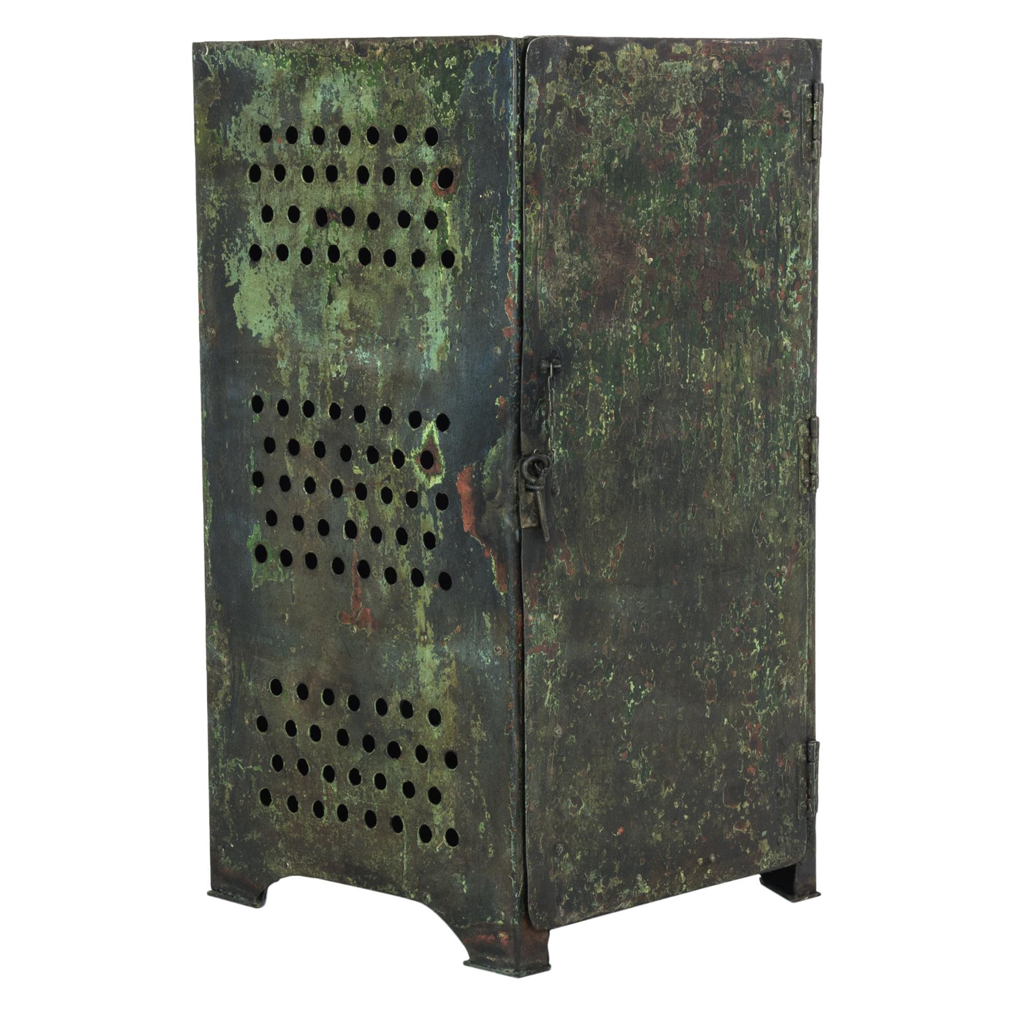 1910s French Industrial Metal Locker