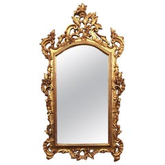 1910s Gold Gilt French Hand Carved Mirror with Ornate Details