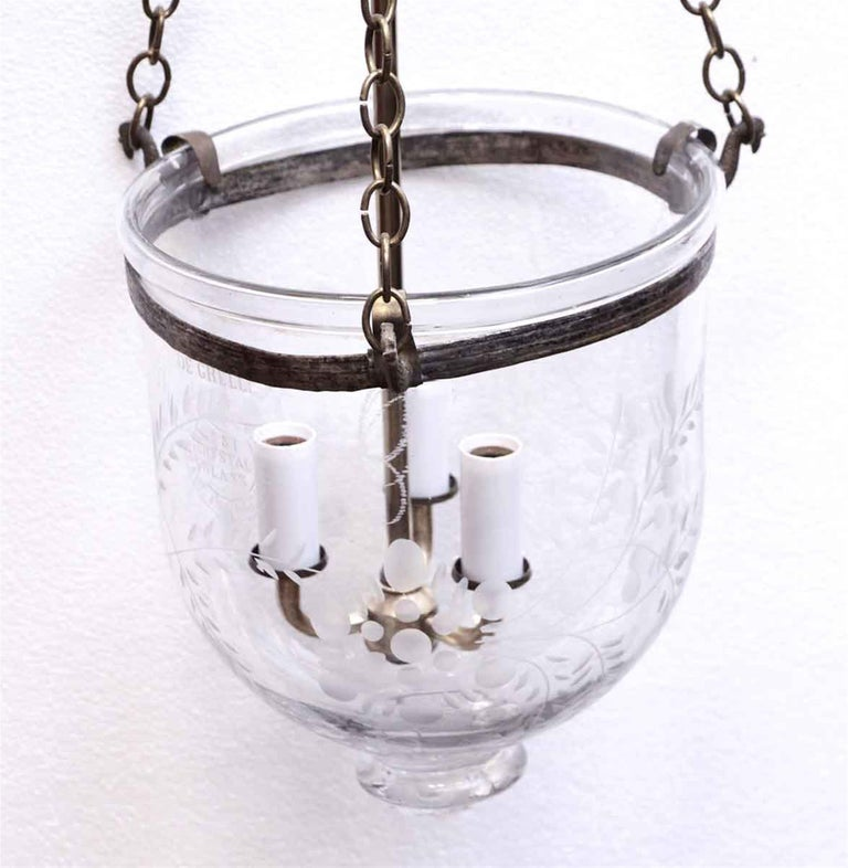 1910s Hand Blown Crystal Bell Jar Etched Pendant Light with Brass Hardware In Good Condition For Sale In New York, NY