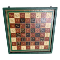 1910s Hand Painted Game Board on Canvas with Custom Frame