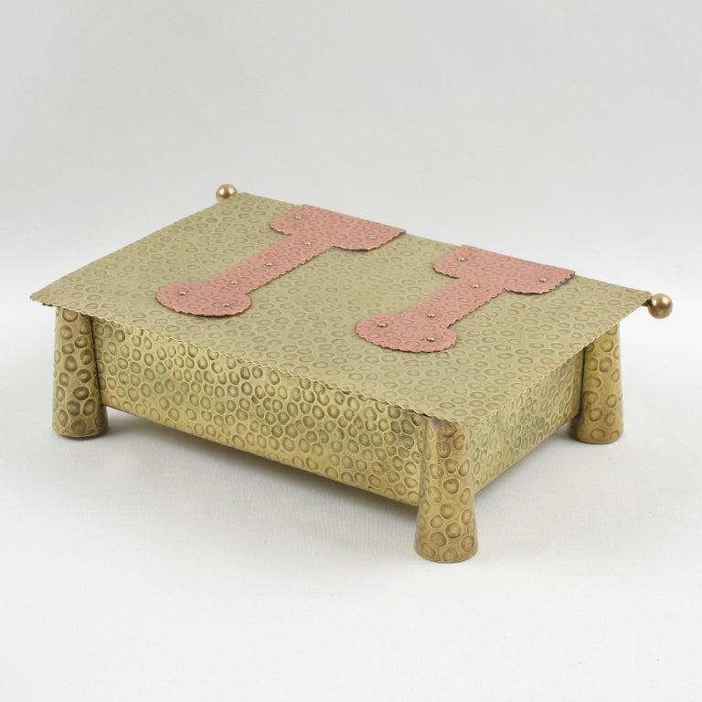 German Jugendstil Arts & Crafts Hammered Brass Box For Sale