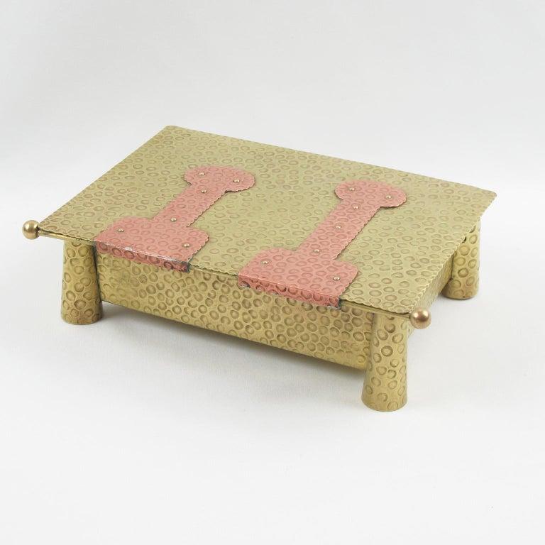 20th Century Jugendstil Arts & Crafts Hammered Brass Box For Sale
