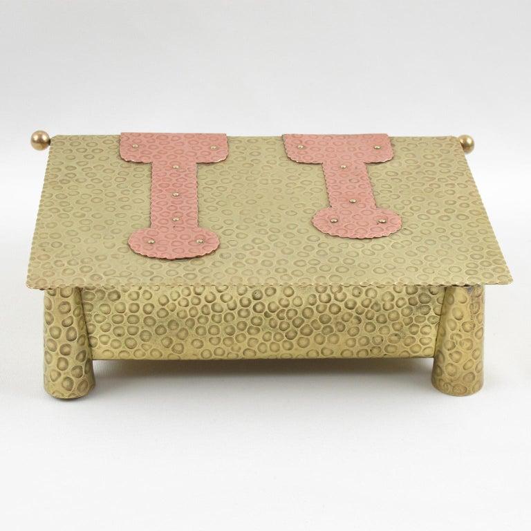 Jugendstil Arts & Crafts Hammered Brass Box For Sale 3