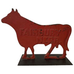 1910s Large Red Cow Cast Iron Windmill Weight by Fairbury Windmill Company