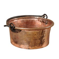 1910s Large Size Round French Copper Pot with Movable Iron Handle