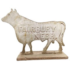 1910s Large White Cow Cast Iron Windmill Weight by Fairbury Windmill Company