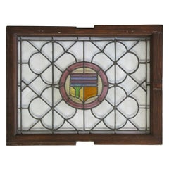 1910s Leaded and Stained Glass Window with Quatrefoil and Shield Design