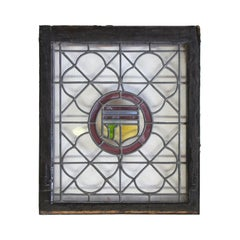 1910s Leaded and Stained Glass Window with Shield Design and Quatrefoil Details