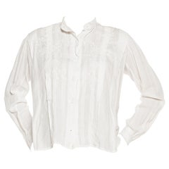 "Edwardian White Linen Pin-Tucked & Hand-Embroidered ""Mens"" Style Blouse Can Tak"