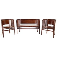 1910s Marcel Kammerer Wooden Sofa and Chairs for Gebruder Thonet