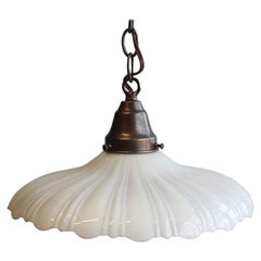 1910s Milk Glass Pendant Light with a Scalloped Rim and New Brass Hardware