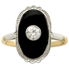 1910s Onyx Diamond Yellow Gold Cocktail Ring