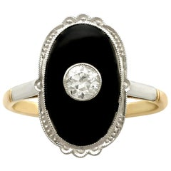 1910s Onyx Diamond Yellow Gold Cocktail Ring