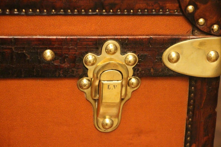 1910s Orange Louis Vuitton Steamer Trunk, Malle Louis Vuitton In Good Condition For Sale In Saint-Ouen, FR
