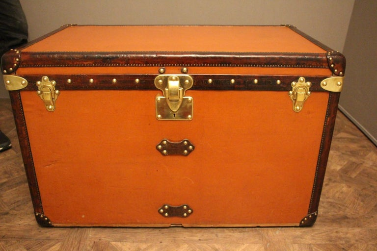 Brass 1910s Orange Louis Vuitton Steamer Trunk, Malle Louis Vuitton For Sale