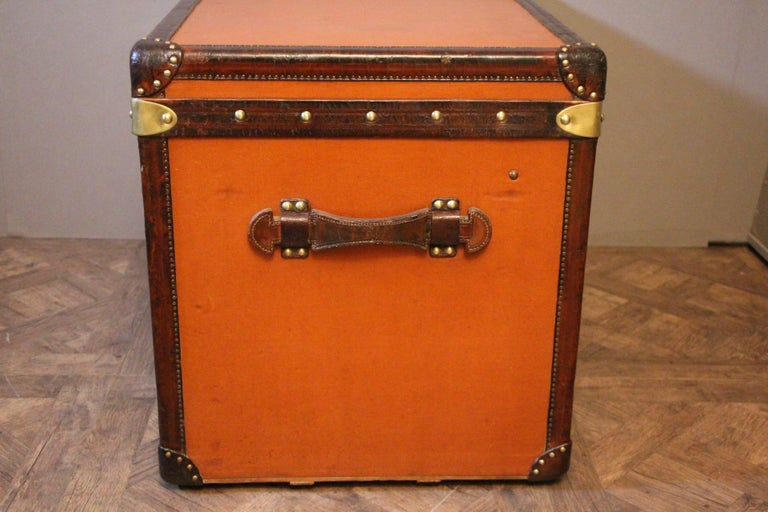 1910s Orange Louis Vuitton Steamer Trunk, Malle Louis Vuitton For Sale 1