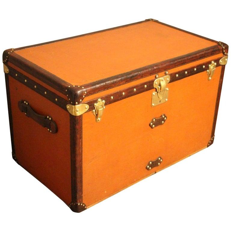 1910s Orange Louis Vuitton Steamer Trunk, Malle Louis Vuitton For Sale