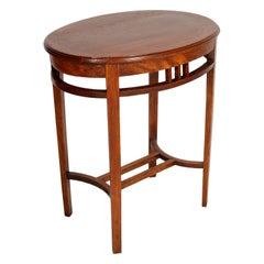 1910s Oval Viennese Occasional Table by Wiener Werkstätte, Solid Walnut Restored