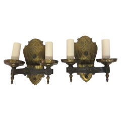 1910s Pair of Brass Two-Arm Wall Sconces Art Nouveau Style