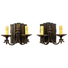 1910s Pair of Bronze Linenfold Sconces with Two Lights Each, Original Patina