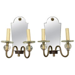 1910s Pair of French Two-Arm Star Motif Mirrored Wall Sconces