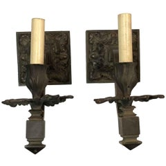 1910s Pair of Heavy Bronze French Oak Leaf & Acorn Sconces Floral One-Light Ea