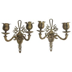 1910s Pair of Petite Bronze Federal Style Two-Arm Wall Sconces, Floral Details