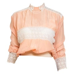 1910S Peach Silk And Lace Edwardian TopEdwardian Peach Rayon & Lace Entirely Han