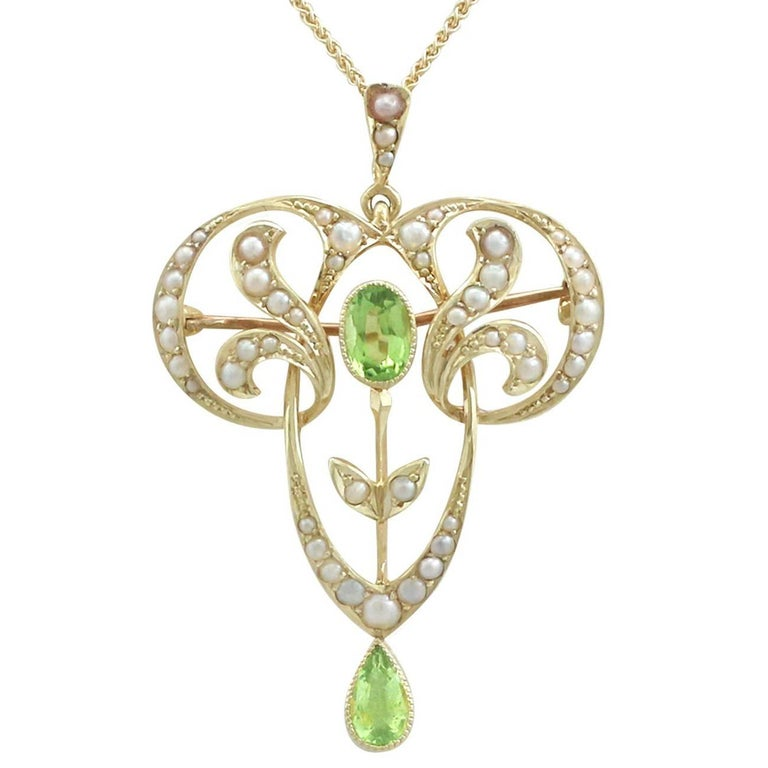 1910s Peridot and Seed Pearl Yellow Gold Pendant / Brooch