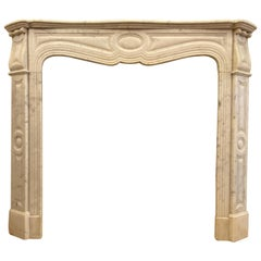 1910s Petite French White Carrara Marble Mantel from West 9th St in Manhattan