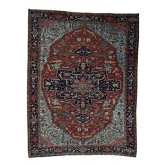 1910s Red Antique Persian Heriz Rug, Soft Pile and Clean