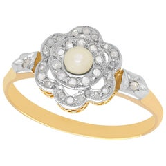 1910s Seed Pearl Diamond Yellow Gold Cluster Ring