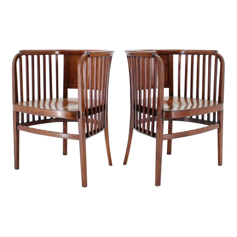 1910s Set of Two Marcel Kammerer Wooden Chairs for Gebruder Thonet For Sale