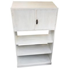 1910s Shabby White Sideboard, Bookcase, Very Slender Design, Fir