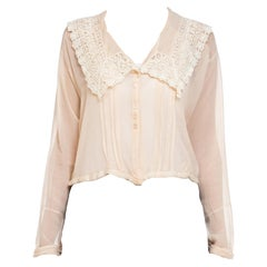 1910S Sheer Silk Chiffon Edwardian  Top With Lace Collar