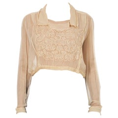 1910S  Silk Cream Embroidered Blouse