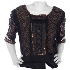 Edwardian Black Silk & Lace Top With Metallic Embroidery, As-Is