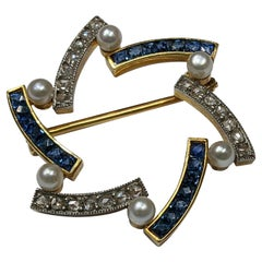 1910s Star Pin with Sapphire Diamonds and Pearls